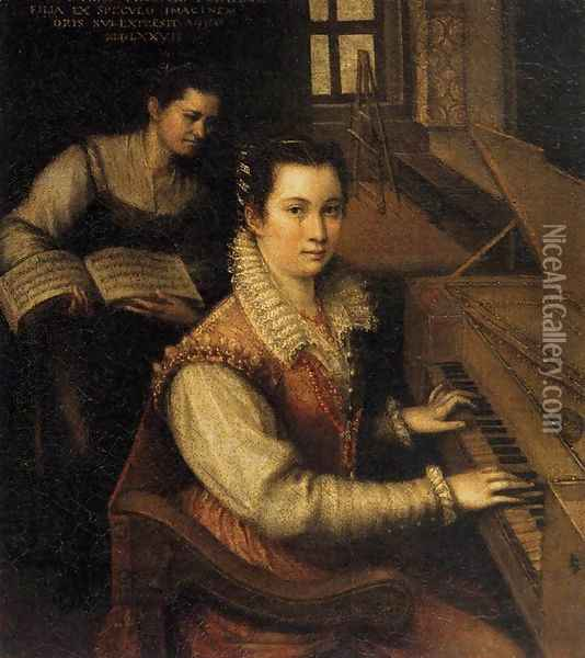Self-Portrait at the Spinet 1577 Oil Painting - Lavinia Fontana
