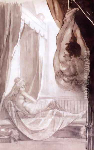 Brunhilde Observing Gunther, Whom She Has Tied to the Ceiling 1807 Oil Painting - Johann Henry Fuseli
