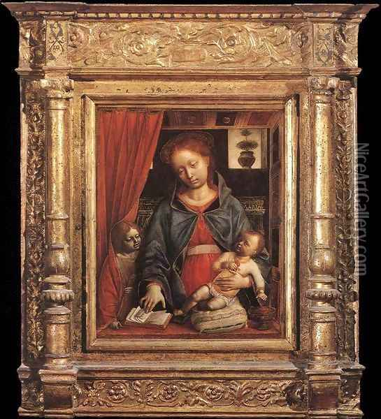 Madonna And Child With An Angel 1479-80 Oil Painting - Vincenzo Foppa