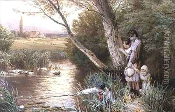 Children Playing by a Stream Oil Painting - Myles Birket Foster