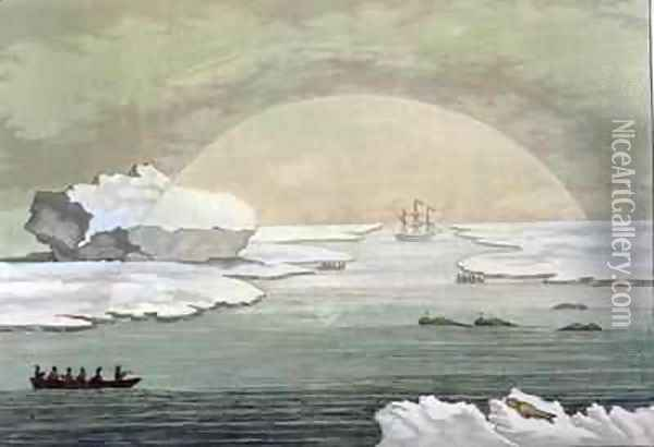 An iced in British whaleboat is liberated by the suns rays Baffin Bay Oil Painting - Paolo Fumagalli