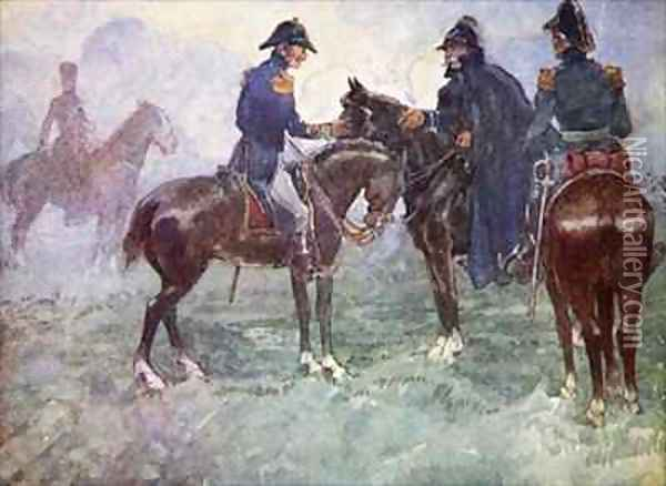 Not till after the battle did Blucher and Wellington meet Oil Painting - A.S. Forrest