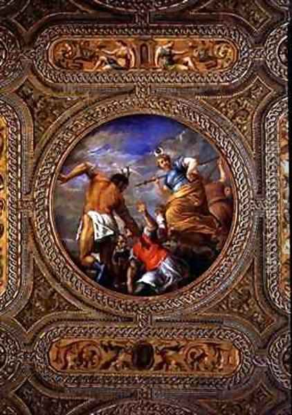 Diana and Actaeon from the ceiling of the library Oil Painting - Battista Franco