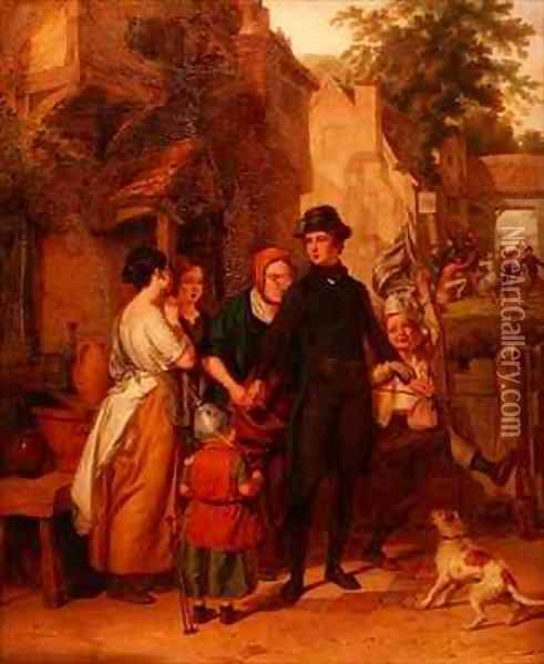 The Parting a Recruit Taking Leave of his Family Oil Painting - Robert Farrier