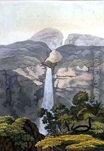 River Vinagre Waterfall near the Puraci Volcano Nova Granada Brazil Oil Painting - Gerolamo Fumagalli