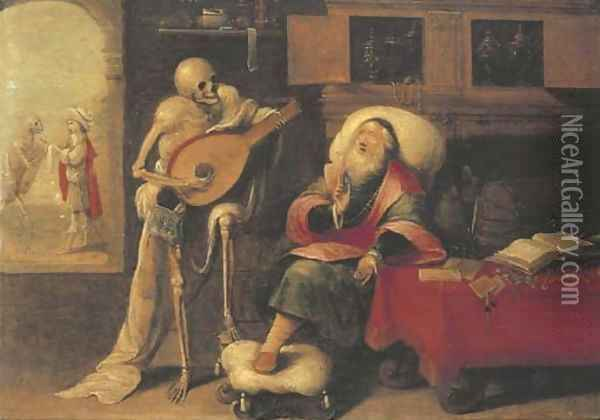 Death and the Miser Oil Painting - Frans II Francken