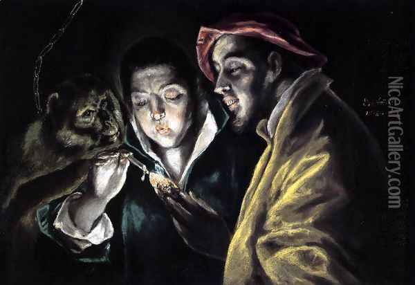 An Allegory with a Boy Lighting a Candle in the Company of an Ape and a Fool (Fábula) 1577-79 Oil Painting - El Greco (Domenikos Theotokopoulos)