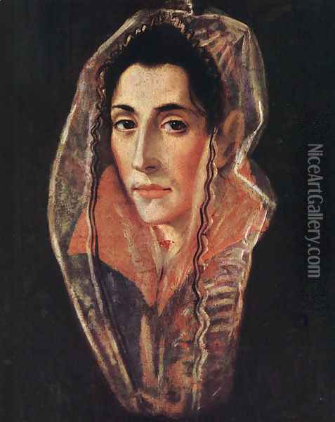 Female Portrait c. 1595 Oil Painting - El Greco (Domenikos Theotokopoulos)