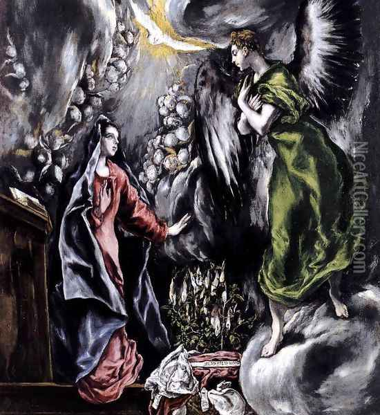 The Annunciation (detail 1) 1597-1600 Oil Painting - El Greco (Domenikos Theotokopoulos)