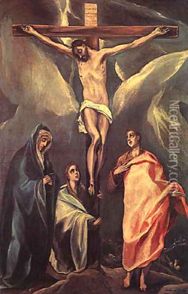 Christ On The Cross With The Two Maries And St John 1588 Oil Painting - El Greco (Domenikos Theotokopoulos)