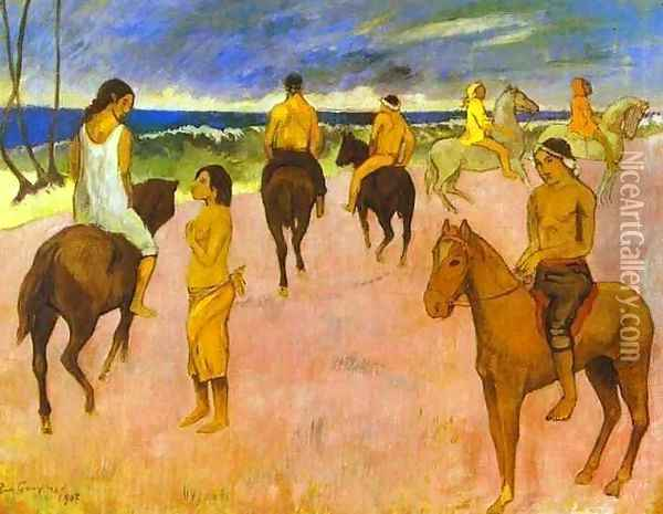 Horsemen On The Beach Oil Painting - Paul Gauguin