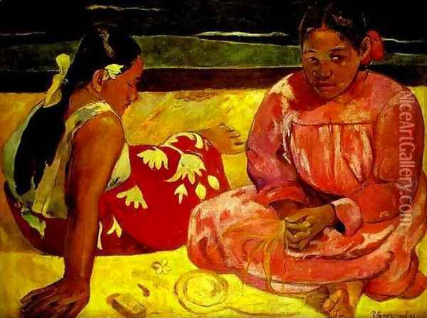 Women of Tahiti Oil Painting - Paul Gauguin