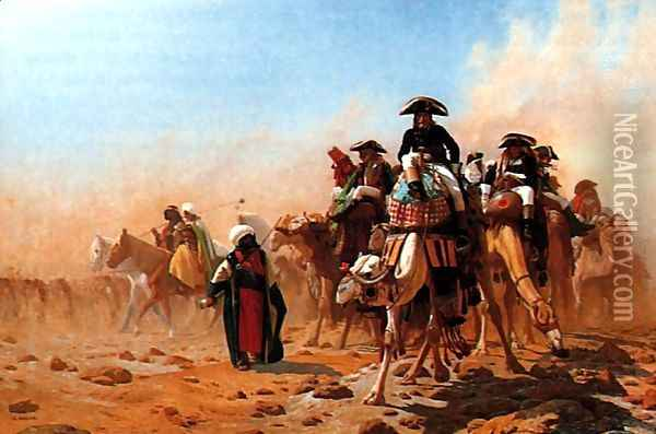 Bonaparte et son armée en Egypte (Napolean and his General Staff in Egypt) Oil Painting - Jean-Leon Gerome
