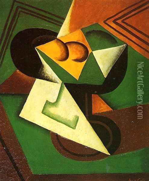 Fruit Bowl and Fruit Oil Painting - Juan Gris