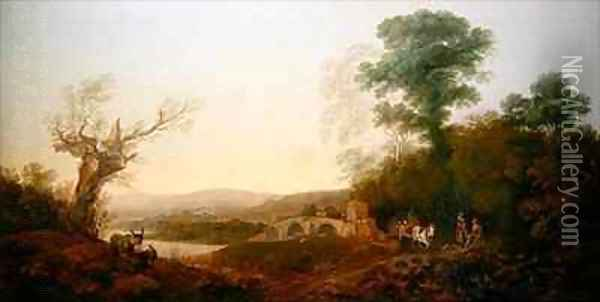 A River Landscape with Travellers Resting on the Edge of a Wood Oil Painting - Thomas Gainsborough