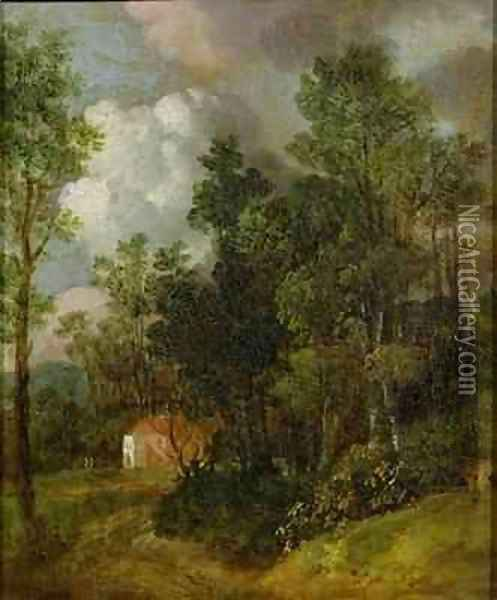 Wooded Landscape with Country House and Two Figures Oil Painting - Thomas Gainsborough