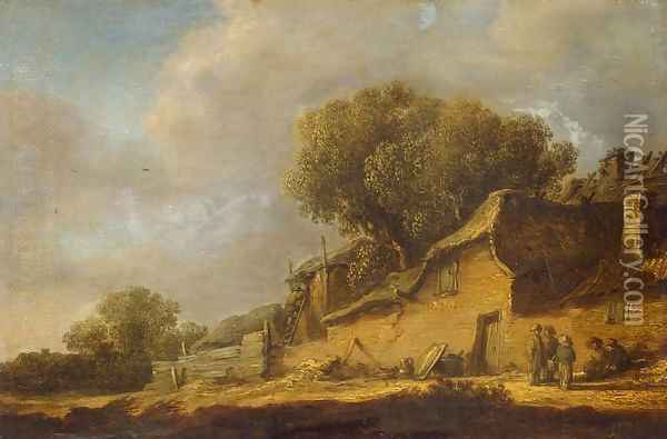 Landscape with a Peasant Cottage Oil Painting - Jan van Goyen