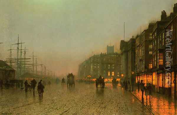 Liverpool from Wapping Oil Painting - John Atkinson Grimshaw