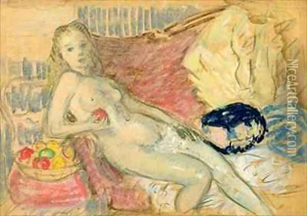 Study for Nude with Apple Oil Painting - William Glackens