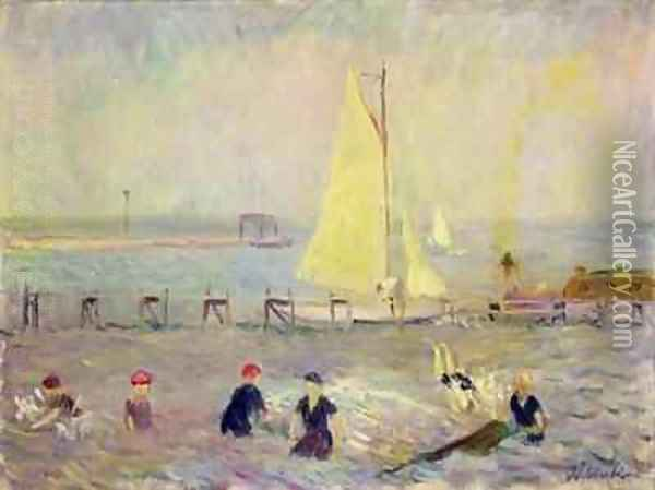 Seascape with Two Sailboats and Six Bathers Oil Painting - William Glackens