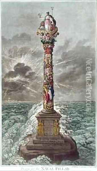 The Trident is Confirmed or Design for a Naval Pillar Oil Painting - James Gillray