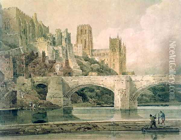 Durham Cathedral and Bridge Oil Painting - Thomas Girtin
