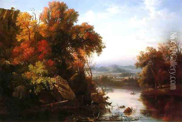 Indian Summer Oil Painting - Marie-Regis-Francois Gignoux