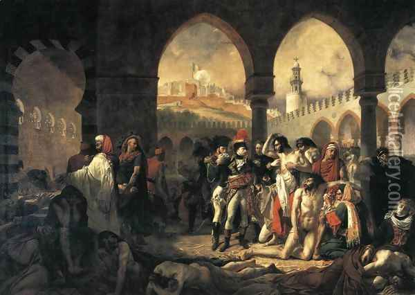 Napoleon Bonaparte Visiting the Plague-stricken at Jaffa 1799 Oil Painting - Antoine-Jean Gros