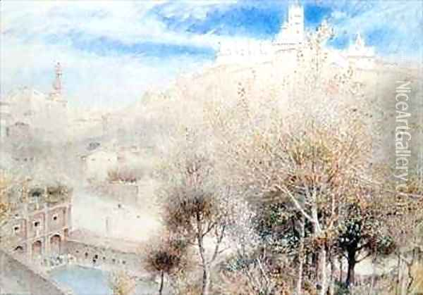 The Fonte Branda Siena Oil Painting - Albert Goodwin