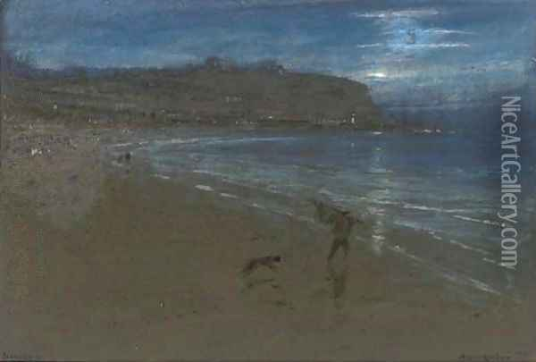 Scarborough bathed in moonlight Oil Painting - Albert Goodwin