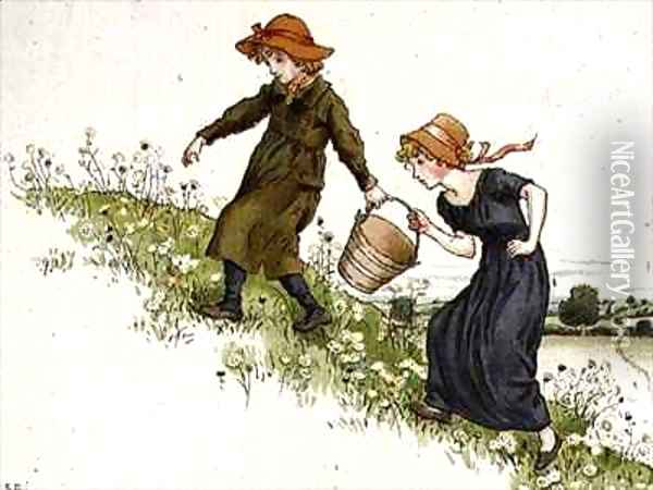 Jack and Jill from April Babys Book of Tunes Oil Painting - Kate Greenaway