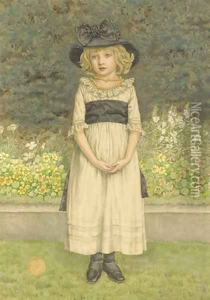 Study of a young girl in a garden, a border of nasturtiums and other plants beyond Oil Painting - Kate Greenaway