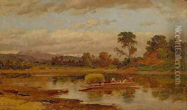 Crossing the Lake Oil Painting - Samuel Lancaster Gerry