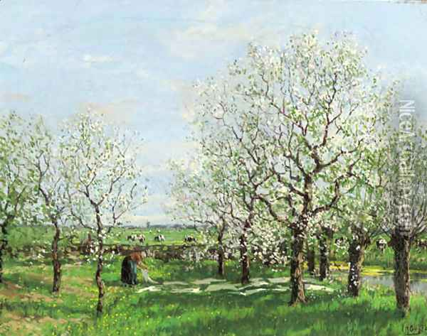 An orchard in spring Oil Painting - Arnold Marc Gorter