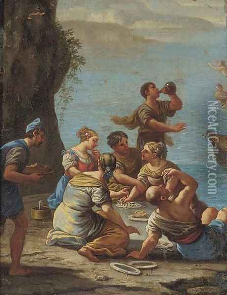 Figures on a shore eating pasta and drinking wine Oil Painting - Luca Giordano