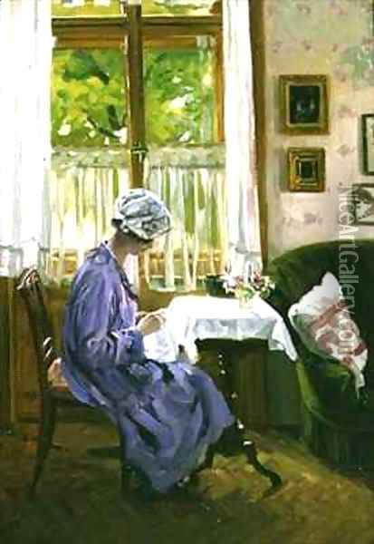 Lady Sewing by a Window Oil Painting - George Gerlach