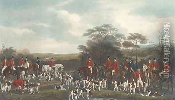 Sir Richard Sutton and the Quorn Hounds (Siltzer 130), by F. Bromley Oil Painting - Sir Francis Grant