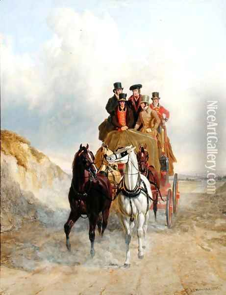 The Royal Mail Coach on the Road, 1841 Oil Painting - John Frederick Herring Snr