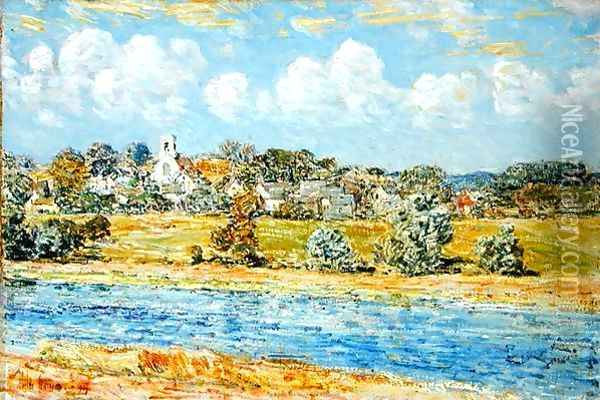 Landscape at Newfields, New Hampshire, 1909 Oil Painting - Childe Hassam