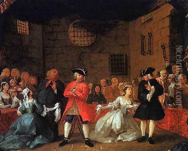 A Scene from the Beggar's Opera 1728-29 Oil Painting - William Hogarth