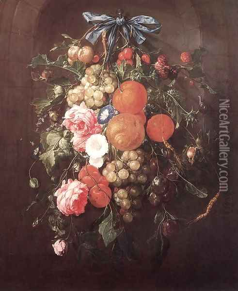 Still-Life with Flowers 1660 Oil Painting - Cornelis De Heem