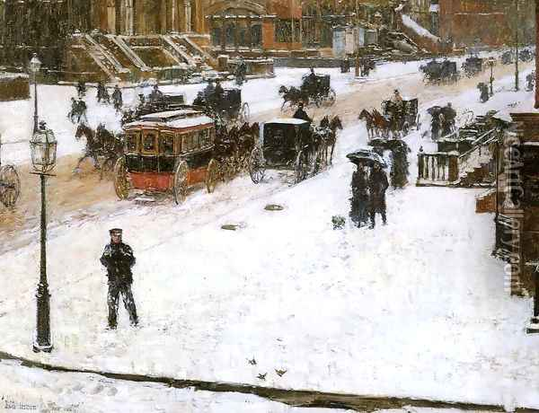 Fifth Avenue in Winter Oil Painting - Frederick Childe Hassam