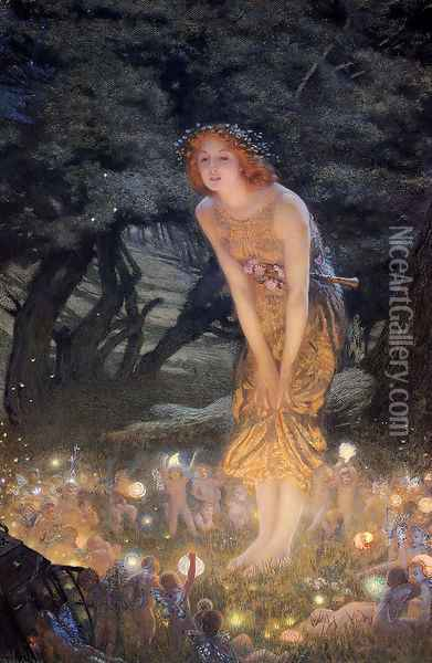 Midsummer Eve Oil Painting - Edward Robert Hughes R.W.S.