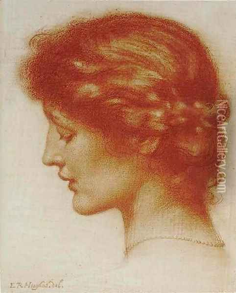 Portrait Of Rosalind Oil Painting - Edward Robert Hughes R.W.S.