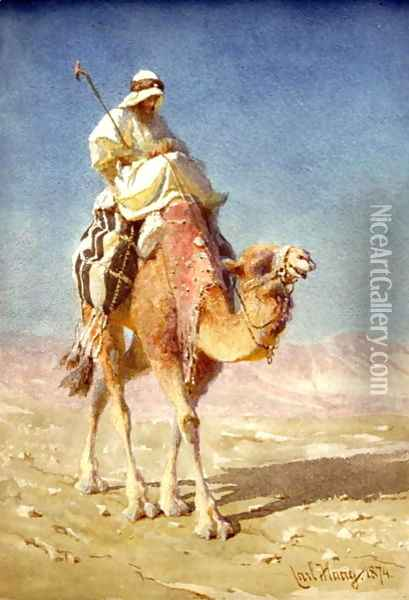 A Bedaween on a Camels Back Oil Painting - Carl Haag
