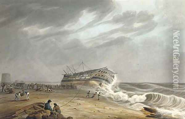 The Honourable [East India] Company's ship Thames on shore at Eastbourne, 1822 Oil Painting - William John Huggins
