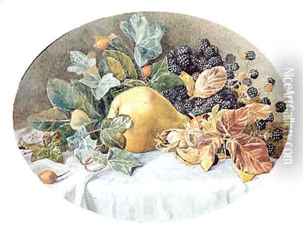 Still Life with Fruit Oil Painting - John William Hill