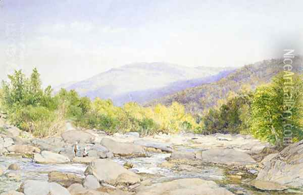 Landscape: View on Catskill Creek Oil Painting - John William Hill