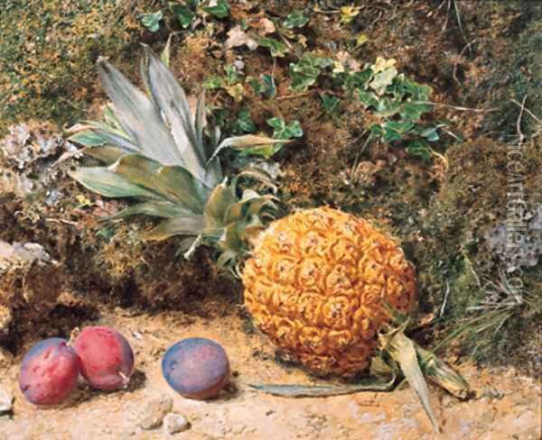 Still life with a pineapple and three plums Oil Painting - William Henry Hunt