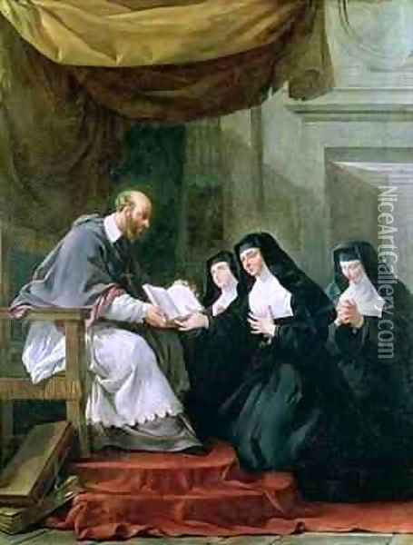 St Francois de Sales 1567-1622 Giving the Rule of the Visitation to St Jeanne de Chantal 1572-1641 Oil Painting - Noel Halle